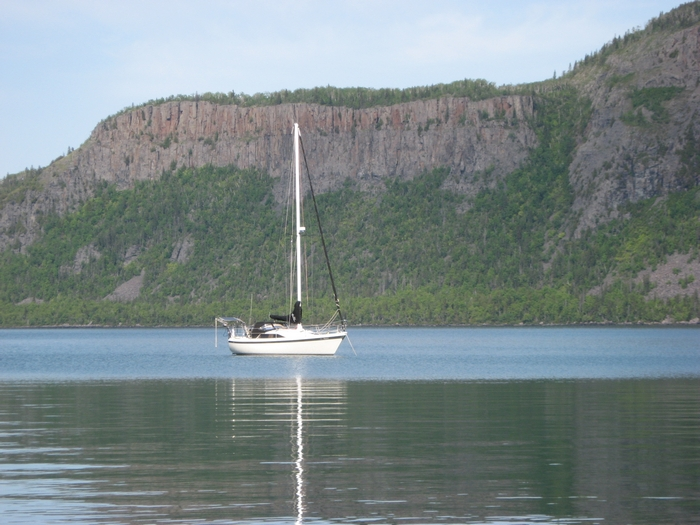 Anchored in Tee Harbour